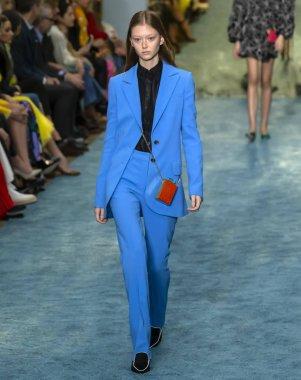 New York, New York - February 11, 2019: Sara Grace Wallerstedt walks the runway at Carolina Herrera Fall Winter 2019 Fashion Show