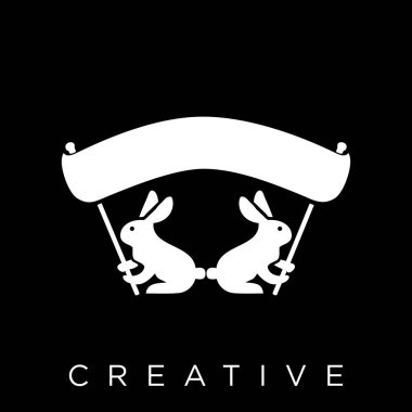 Rabbit Logo design vector icon symbol linked icon