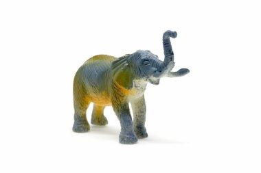Elephant model isolated on white background, animal toys plastic