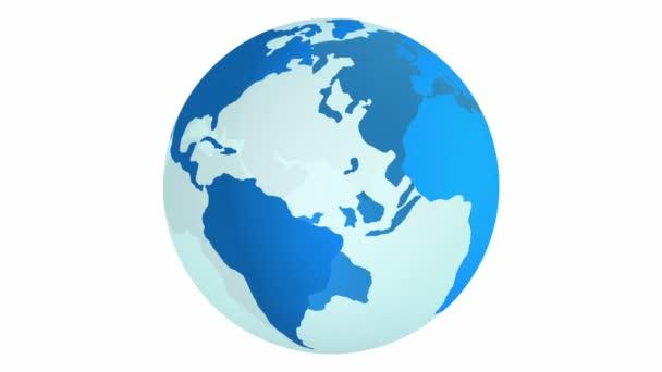 Blauer Planet Erde dreht sich isoliert auf weißem Hintergrund.