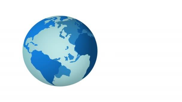 blauer Planet Erde dreht sich isoliert auf weißem Hintergrund. 4k.