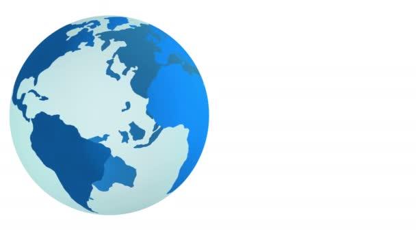 Modrá planeta Země otáčející izolovaných na bílém pozadí. 4k.