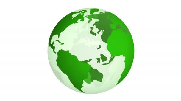 grüner Planet Erde dreht sich isoliert auf weißem Hintergrund. 4k.