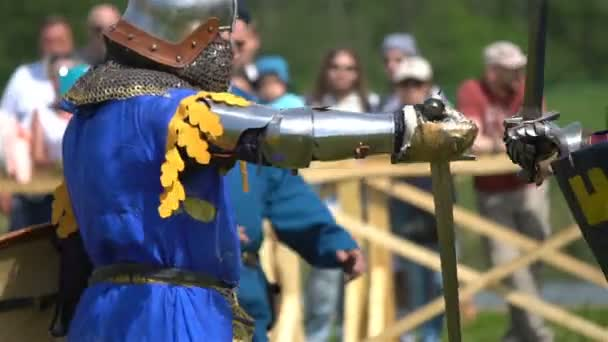 Sula, Belarus - May 20, 2017: Battle of medieval knights. Duel.