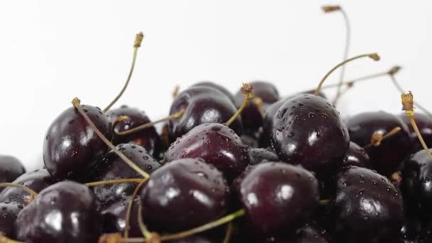 Cherry. Ripe cherries rotating over white background. Rotating Black Ripe Sweet Cherry. Rotation 4K UHD video. Seamless looping. Closeup Makro.