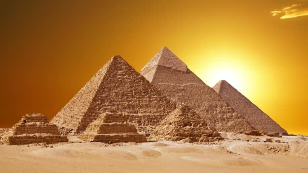 Timelapse Of The Great Pyramids In Giza Valley, Cairo, Egypt. Sunset over the pyramids.