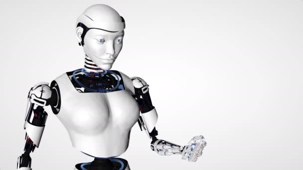 Sexy robot android žena drží planety země... Cyborg budoucí technologie, umělá inteligence, výpočetní techniky, humanoidní věda.