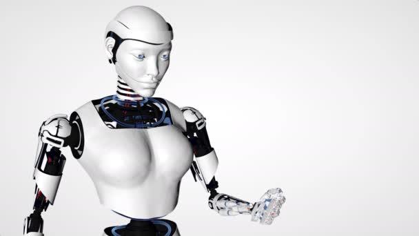 Sexy robot android žena hospodářství bitcoin, Crypto měny zlata bitcoinů - Btc - Bit mince. Cyborg budoucí technologie, umělá inteligence, výpočetní techniky, humanoidní věda.