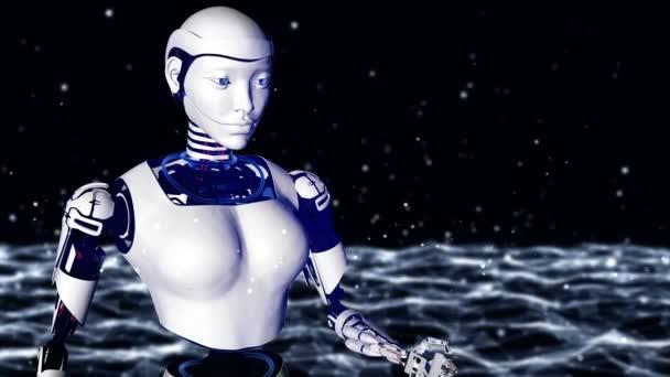 Szexi robot android nő tartja a digitális föld. Cyborg a jövő technológiája, mesterséges intelligencia, számítástechnika, humanoid tudomány.