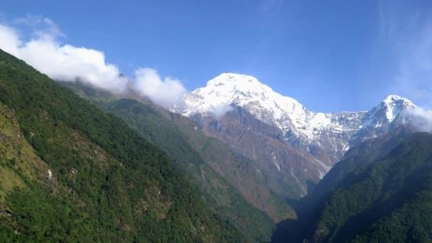 Himalayas mountain landscape in the Annapurna region. Annapurna and Machapuchare peaks in the Himalaya range, Nepal.
