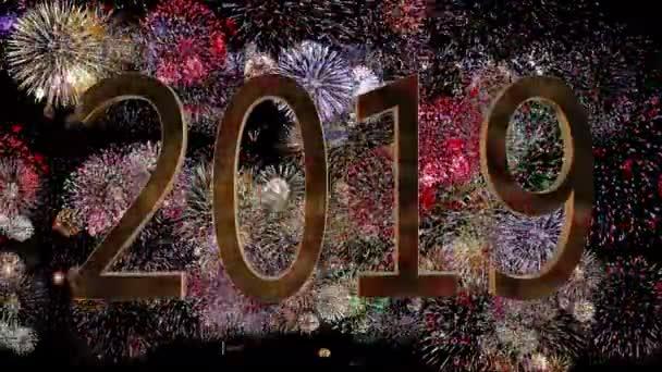 Nový rok 2019 na pozadí aplikace fireworks. Nový rok koncept. Barevný ohňostroj 4k pozadí.