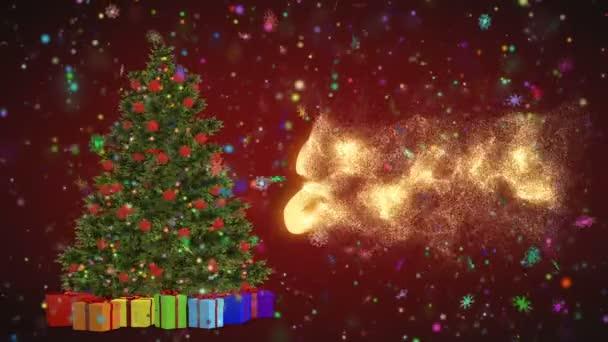 Karácsonyfa és az ajándékok forgó piros háttérre. Merry 2019 a hópelyhek, piros háttéren. Karácsonyi és újévi varrat nélküli hurok animáció