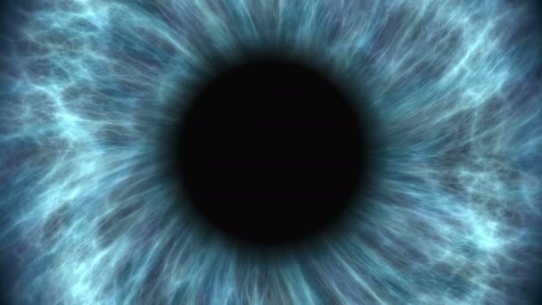 Modré lidské oko roztažení a uzavírání smluv. Velmi podrobné extrémní detail iris a žák.