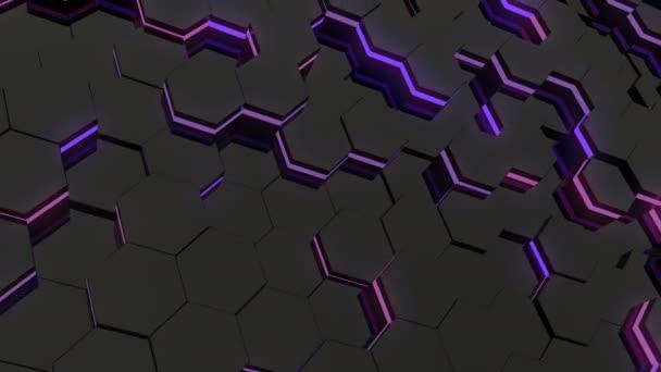 Abstrakte sechseckigen leuchtenden Hintergrund. Flug über die leuchtenden Sechsecke. Nahtlose Schleife Sequenzen