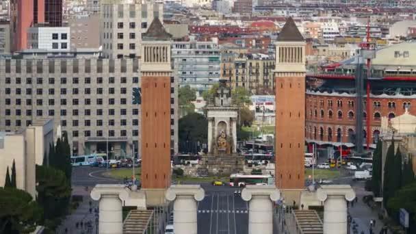 BARCELONA, SPAIN - CIRCA 2019: Morning in Barcelona Plaza de Espana, Plaza of Spain, time lapse. Barcelona, Spain.