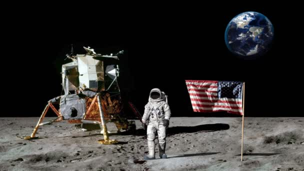 Astronaut walking on the moon and saluting the American flag.. CG Animation. Some Elements of this video furnished by NASA.