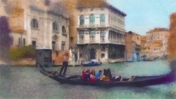 Olejomalba stylizace video gondola v Canal Grande v Benátkách, Itálie.