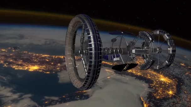 Sci Fi International Space Station ISS revolving over earths atmosphere. Space Station Orbiting Earth. 3D Animation. Elements of this video furnished by NASA.