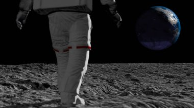 Astronaut walking on the moon and admiring the beautiful Earth. CG Animation. Elements of this image furnished by NASA. 3D rendering