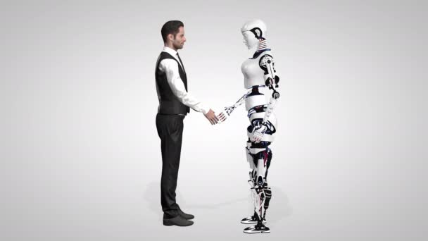 Businessman shaking hands with a woman robot with artificial intelligence. Cyborg future technology, artificial intelligence, computer technology, humanoid science. Seamless loop. 3D RENDER.