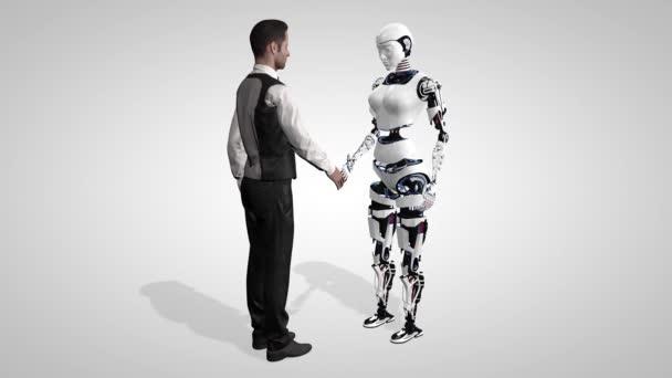 Üzletember rázta a kezét egy robot mesterséges intelligencia. Kézfogás robotkarral. Az ember egy robotval kommunikál. Varrat nélküli hurok. 3D-leképezés.