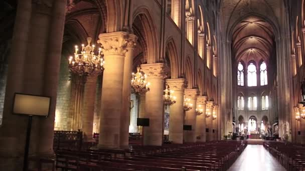 PARIS, FRANCE - March 22, 2016: Interior of Notre Dame de Paris. France. Notre Dame construction began in the year 1163 and was completed in the year 1345.