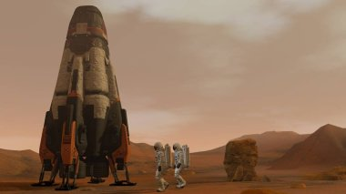 3D rendering. Colony on Mars. Two Astronauts Walking On The Surface Of Mars. Exploring Mission To Mars. Futuristic Colonization and Space Exploration Concept.
