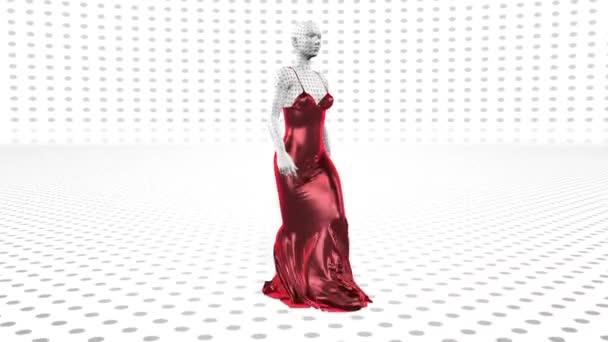 Umělá perforovaná androidní robotka v červených šatech kráčí. Umělá inteligence. Móda do budoucna. Sci-fi stylová robotická dívka. Roztomilá robotka. Animace Cg.