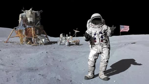 Astronaut on the moon. Elements of this video furnished by NASA.