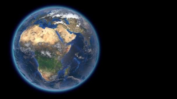 Schöner Planet Erde im All vor dem Hintergrund von Sternen. 3D-Darstellung. Nahtloser Lolop. Elemente dieses von der NASA zur Verfügung gestellten Videos.