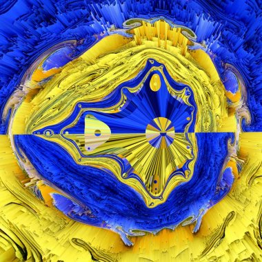 Matisse inspired blue paper geometric shapes and patterns with yellow representing the fields of corn at harvest with cloudless blue skies with design as Mandelbrot fractal design