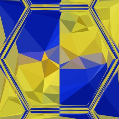 Matisse inspired blue paper geometric shapes and patterns with yellow representing the fields of corn at harvest with cloudless blue skies with design in triangulation cubist style reduction modern art