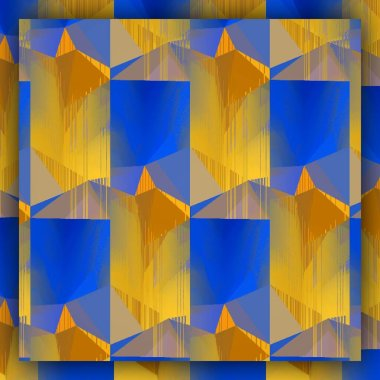 Matisse inspired blue paper geometric shapes and patterns with yellow representing the fields of corn at harvest with cloudless blue skies with design in repeating style
