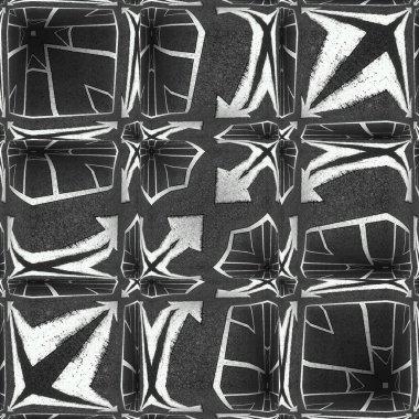 """Картина, постер, плакат, фотообои """"яркая двойная стрелка белого направления на новой черно-чистой асфальтовой дорожной поверхности, создавая узоры и конструкции картины"""", артикул 393777036"""