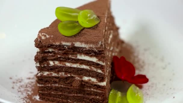 Chocolate honey layer cake Medovik. Piece of chocolate honey cake rotates on a white plate