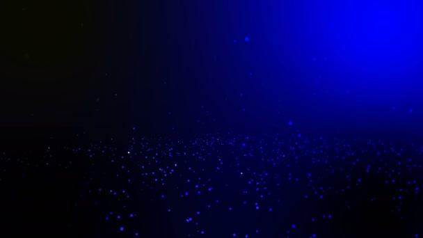 Bezešvá smyčka a loopable animace pohybu modrý kruh podzim pozadí, pozadí částic modrá záře