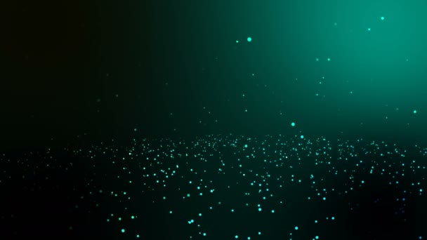 nahtlose Schleife und loopable Animation Bewegung weißer Kreis fallen Hintergrund, glühen Partikel grünen Hintergrund