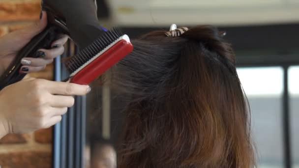 Close Woman Hair Salon Getting Haircut Drying Blond Hair Hair