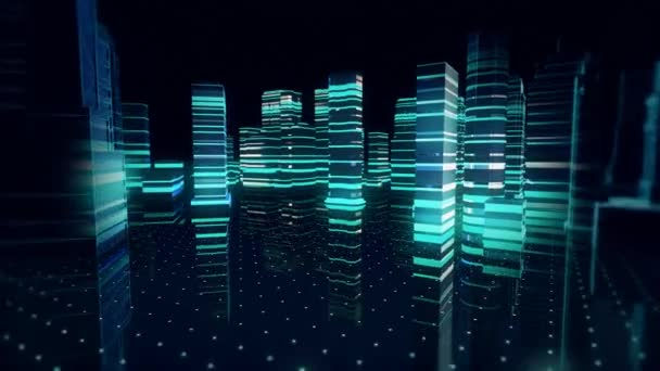 Kybernetický porušení zabezpečení město Futuristic budov na holografický displej rozhraní. Futuristický digitální koncepce Tron
