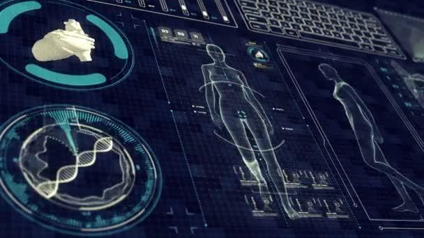 Umano anatomia femminile a piedi con interfaccia futuristico Touch Screen. Scansione di Xray risultati organi e scheletro. Loop