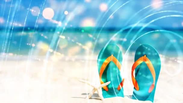 dvě břidlice v písku na pozadí moře proud světélkujících částic, cyklus proudu světélkujících částic. světelné efekty pohybující se a flexibilní čáry v abstraktním stylu.