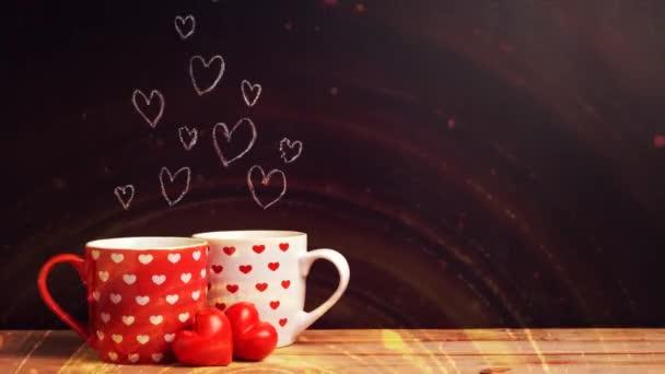 šálek kávy proud světélkujících částic, cyklus proudu světélkujících částic. světelné efekty pohybující se a flexibilní čáry v abstraktním stylu. zisková energie meditace