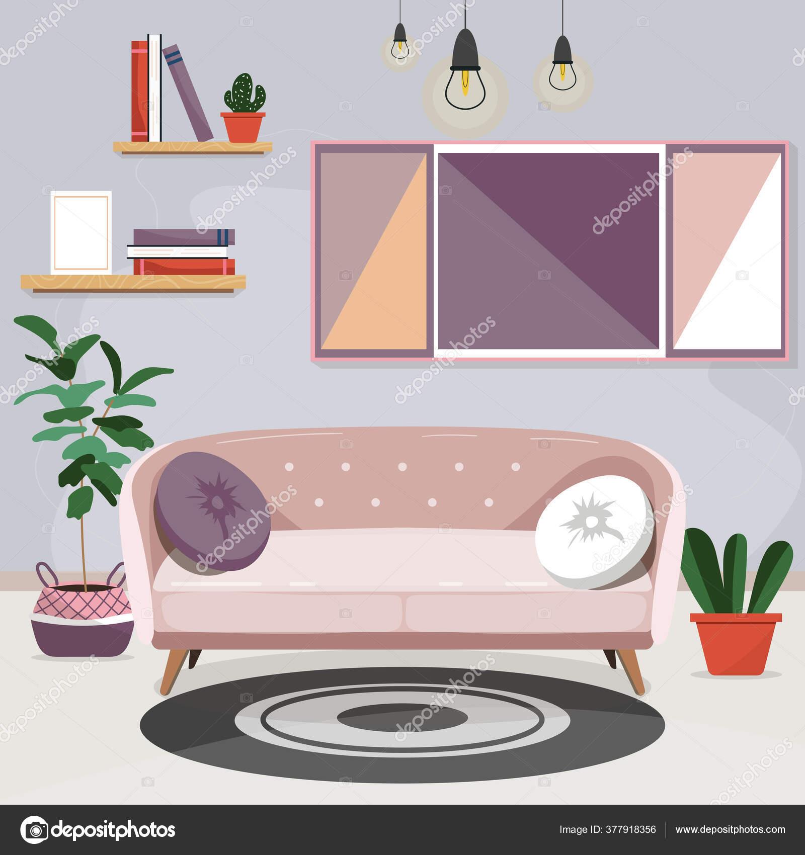 Home Interior Cozy Living Room Light Pink Sofa Pillows Shelves Stock Vector C Julievanhaber 377918356