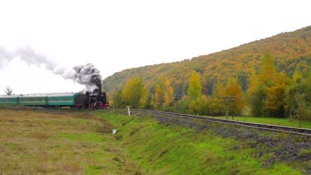 starý parní vlak přijíždí na nádraží