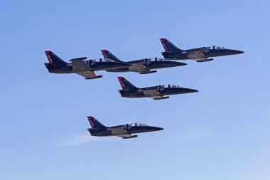 Airplane Patriots L-39 Albatross jet aircraft flying at the Miramar Air Show in San Diego, California. September 30,2018 - San Diego, California, USA. The Miramar Air Show features the Blue Angels and vintage WWII aircraft performing.