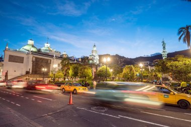 Plaza Grande in old town Quito, Ecuador at night