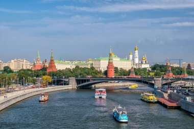 The Moscow Kremlin and the waterfront in Moscow, Russia