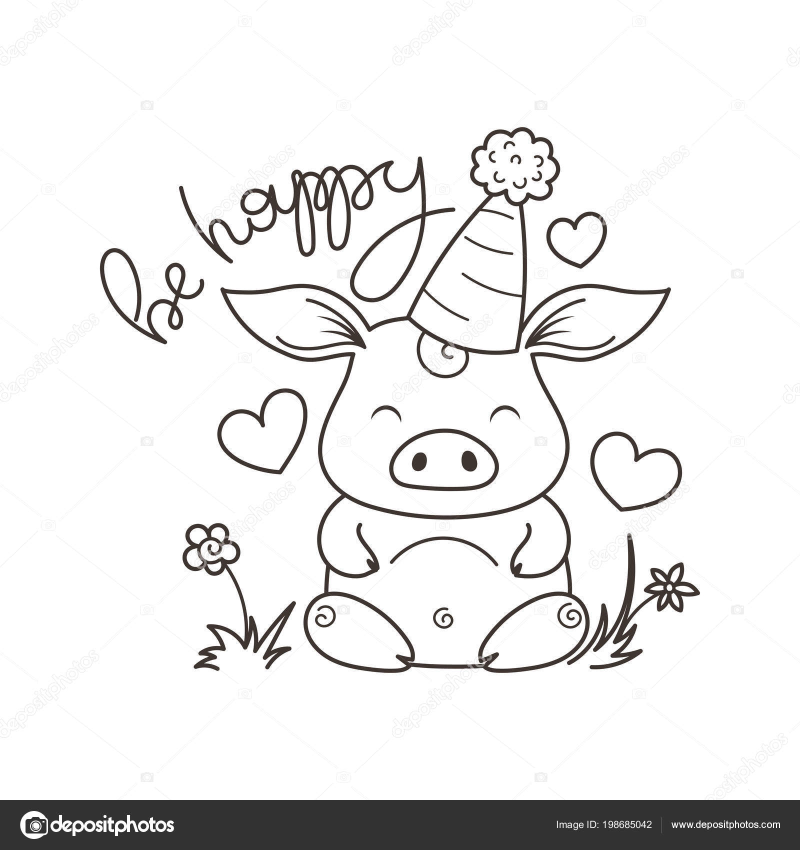 Kleurplaten Gelukkig Nieuwjaar 2019.Schattige Cartoon Kat In Liefde Symbool Van 2019 Nieuwjaar