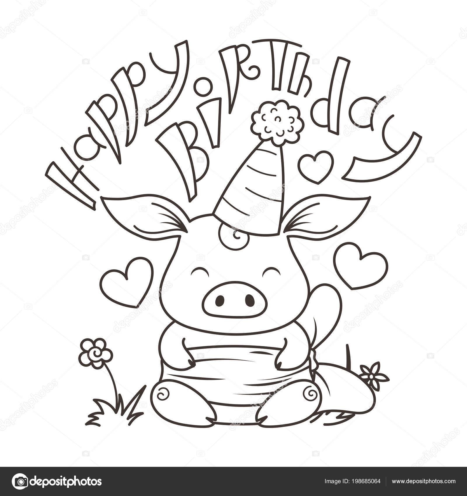 Cerdo De Dibujos Animados En El Amor Símbolo De Fin De Año 2019