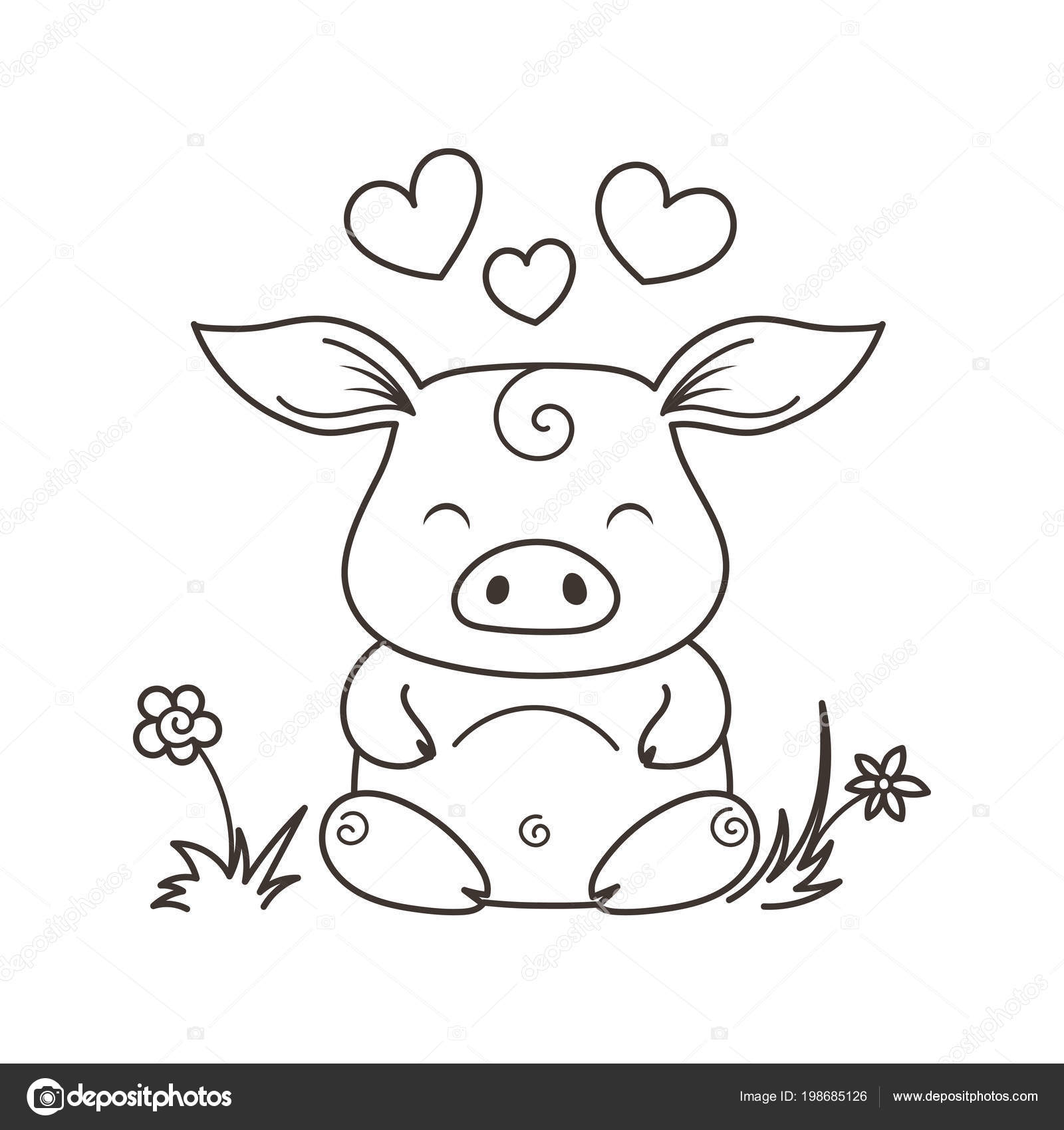 cute cartoon pig in love symbol of new 2019 year stock vector drekhann 198685126. Black Bedroom Furniture Sets. Home Design Ideas